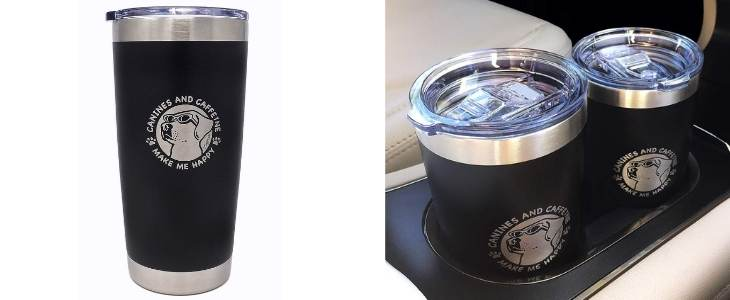 dog insulated tumbler and two tumblers inserted into a cars center console cup holders